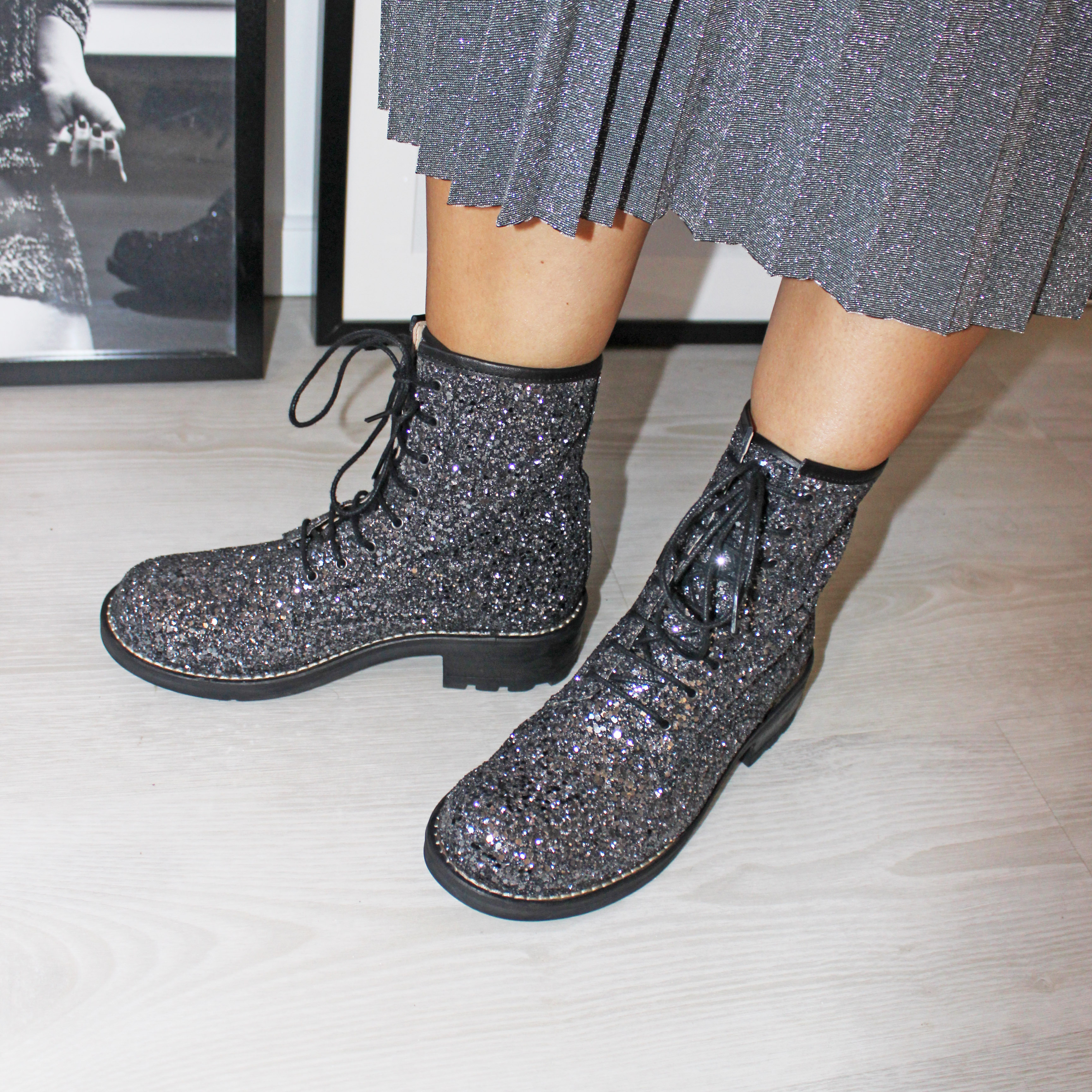 Glitter Army Boots